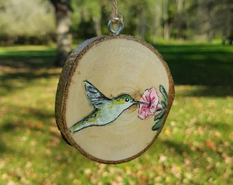 Wood Slice Ornament, Wood Ornament, Flower Ornament, Rustic Ornament, Hummingbird, Hummingbird Painting, Bird Painting, Bird Ornament