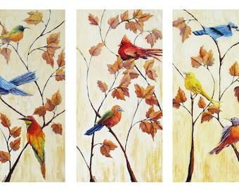 Bird prints, bird canvas prints, bird triptych, bird art, bird painting, love bird, bird canvas prints, Gallery wrap canvas, bird wall decor