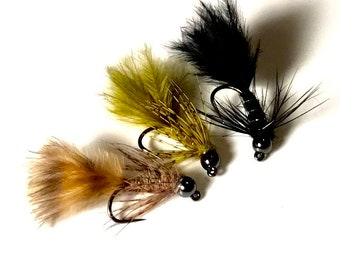 Micro Bugger Jig Streamer/Nymph Fly -Multiple Colors and Sizes - Bead Head Jig Fly - Micro Woolly Bugger - Fly Fishing Fly - Trout Fly -