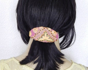 Yellow pink hair barrette, oval beaded fabric hair clip, good for thick hair