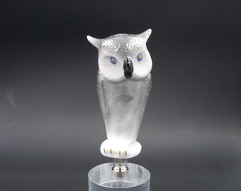 Custom Lamp Finial Featuring a Clever Looking Grey Owl