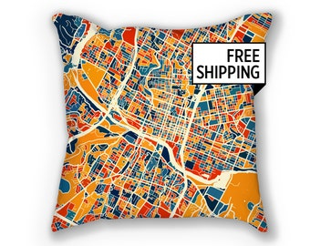 Austin Map Pillow - Texas Map Pillow 18x18