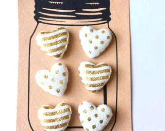 Heart Magnets, Pushpins, White and Gold Heart Magnet, Heart Thumbtacks, Fabric Heart Magnets, Neodymium Magnets, Office Decor