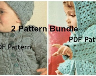 Toddler Knit and Crochet Hoodie Sweater Pattern, Hat, Popcorn Stitch, Cable Knit Jacket, 2 Bundle, PDF Instant, Digital Download