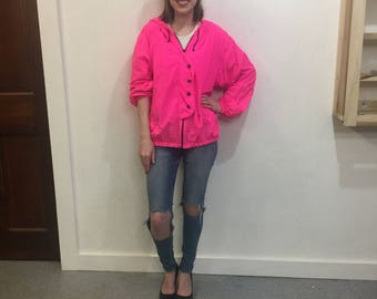 90's ACTIVEWEAR HOT PINK zip-up/button hooded jacket