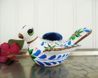 vintage bird pin cushion mexican folk art pottery dove