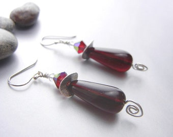 Dark merlot red earrings with crystals and sterling silver spirals // wedding party bridesmaid jewelry // winter wedding
