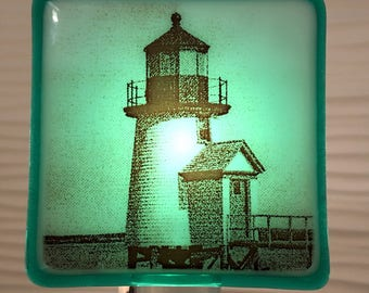 Lighthouse Nantucket Night Light Fused Glass