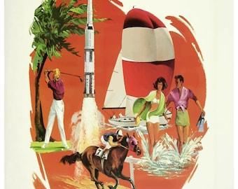 Vintage Florida Delta Airlines Travel Poster Print