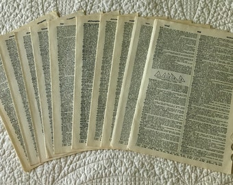 Vintage/Antique Dictionary Pages Set of 10