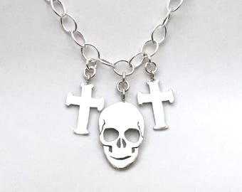 Coin Necklace Skull Cross Pendants made from 3 Vintage American Silver Coins Quarters Dollar