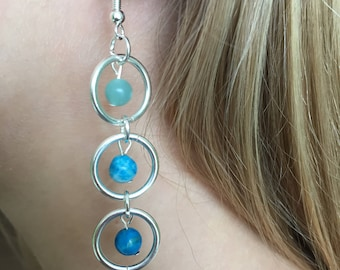Veriegated Blue Three Tiered Glass Bead Earrings