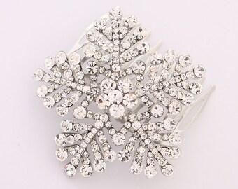 Snowflake Hair Comb Winter Wedding Bridal Hair Comb Accessories Silver Snowflake Wedding Jewelry Accessory Hair Piece