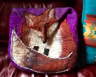 Taos Fox Felt Messenger Bag with Adjustable Strap
