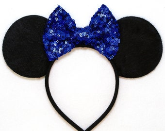 Minnie Mouse Ears Royal Blue or PICK YOUR COLOR Sequin Bow Mickey Mouse Ears Disney Ears Sequin Minnie Mouse Bow Mickey Ears Minnie Ears