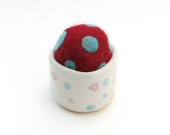 Needle Felted Pin Cushion with Polka Dots