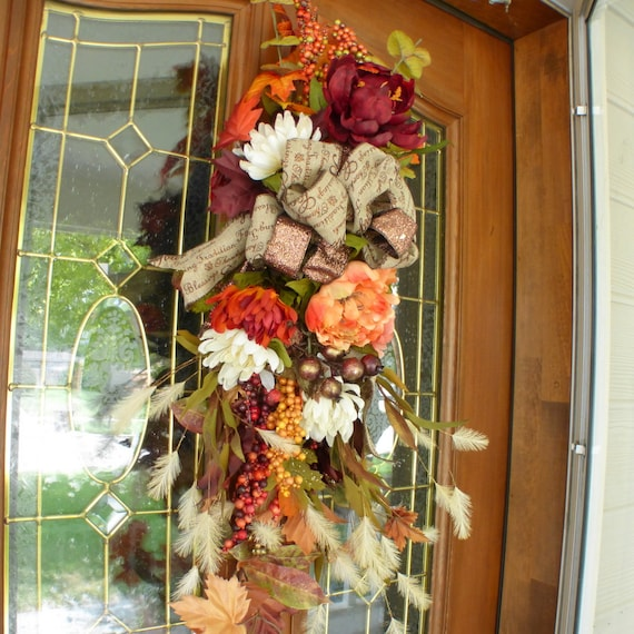 Fall Door Swags: Fall Peonie Door Swag Thanksgiving Door Swags Fall Door