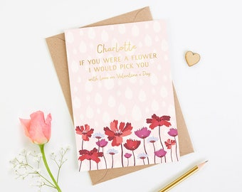 Valentine's Day Card Personalised Gold Flower