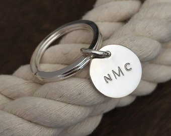 Sterling Silver Monogrammed Key Ring / Personalized Key Ring / Graduation Gift / Custom Wedding Gift / Mothers Day Gift Idea