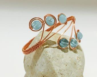 Copper bracelet wire wrapped blue stones adjustable bracelet
