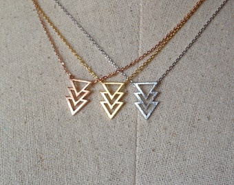 Chevron Triangle Necklace, 14k Gold plated/Rose Gold/Silver, Dainty Necklace