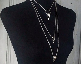 Morgana - Raven - Bird Skull Necklace - Choker - Lariat - Pendant - Witchy - Taxidermy - Goth -  Oddities - Spooky - Dark - Macabre - Gift