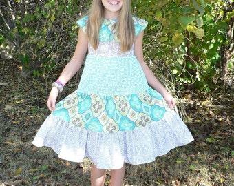Lorelai's Tween Tiered Ruffle Neck Dress PDF Pattern sizes 7/8 to 15/16