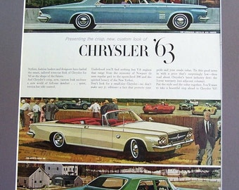 Vintage Retro 1963 Chrysler Car Magazine Print Ad, The Sports - Bred The New Yorker, The Economical Newport, 10 1/2 x 13 1/2  Inch