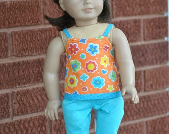 Groovy Two-piece summer outfit for American Girl / 18-inch Doll
