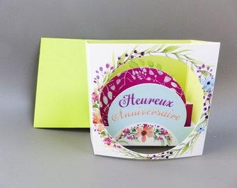 3D birthday card for flower