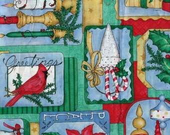 "CHRISTMAS COLLAGE Cotton Fabric, 1 yard by 42"" wide"