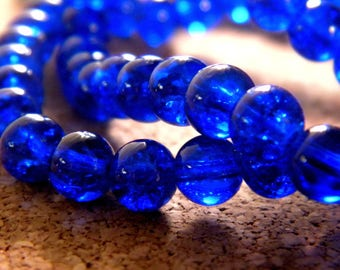 Crackle Glass 8 mm - blue royal - PE147 50 beads