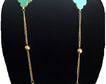 Turquoise Gold Layered Necklace,statement Long CLOVER Necklace, Elegant ,Modern,Minimalist,Jewelry by Taneesi