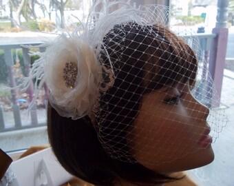 Floral Bridal Birdcage, Feathers, Fascinator - Art Deco Glam, Gatsby, 1920s Style Bride - Flapper - A Bijoux Bridal Chicago Signature Design