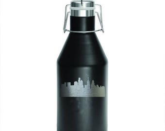 Skyline-Polar Camel 64 oz Growler-Double Wall-Vacuum Insulated-Black Growler-Laser Engraved