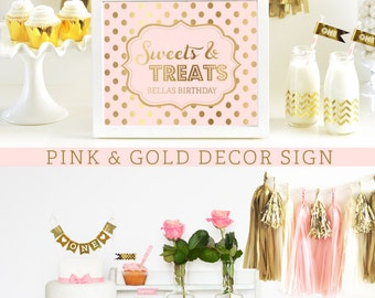 Pink and Gold Decorations Pink and Gold First Birthday Pink and Gold Party Pink and Gold Baby Shower Dessert Table (EB3058FY) - SIGN ONLY