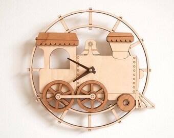 Wooden Train Clock Kids Nursery Room Decor