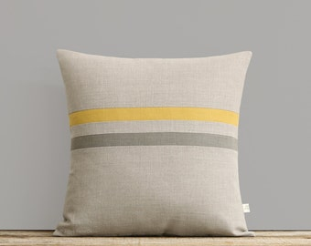 Squash and Stone Gray Striped Linen Pillow Cover - Fall Home Decor by JillianReneDecor - Spring - Yellow and Grey Pillows, Ochre