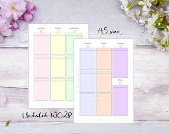 A5   Printed   Planner   Insert   WO2P   Week on 2 pages   Pastel   13 Weeks   Filofax   Kikkik   Undated