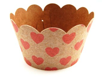 Set of 5 - 50 pc. Brown Kraft Scalloped Cupcake Wrappers,  Brown Craft Paper Cupcake Liners, Kraft Paper Cups, Wedding Cupcakes
