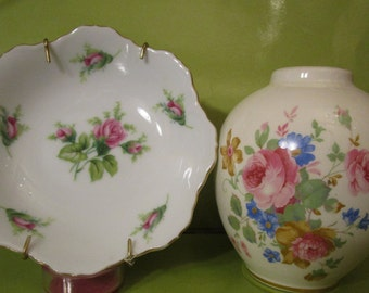 VASE / Old South / VTG. / Floral Design / AND  Petite Plate / Gold Scalloped Edge / Made in Japan / Collectible / Home and Living/ Display