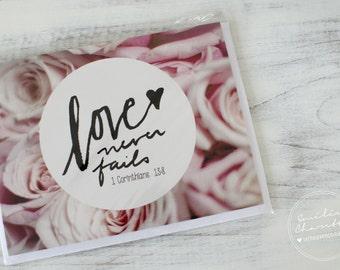 Love Never Fails - Wish card - Bible verse