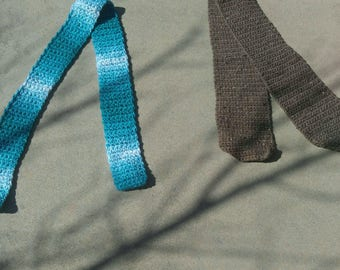 Brown and Aqua Crocheted Scarves