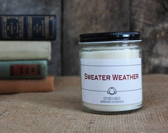Sweater Weather -Scented Soy Candles - Pick your flavor -  8oz glass jar