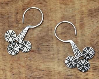 Tribal Earrings, Ethnic Earrings, Aztec Earrings, Silver Earrings, Tribal Silver Earrings, Gypsy Earrings, Boho Earrings, Aztec Jewelry