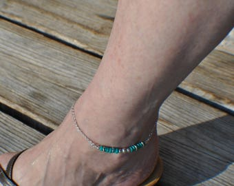 Sterling silver anklet, sterling silver beads and blue Turquoise 9 inch anklet, lobster claw clasp, diamond cut curb chain, hand wrapped