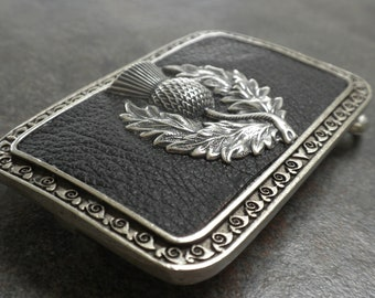 Scottish Thistle Belt Buckle Black and Silver