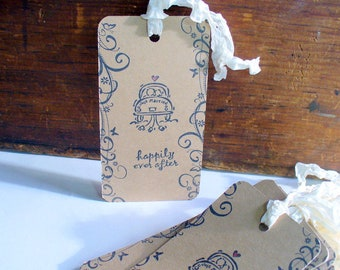 Happily Ever After Hang Tags, Primitive Vintage Look, Party Favor Tags, Hang Tags, Garland Tags, Gift Bag tags, 12 Tags, Wedding Gift Tags