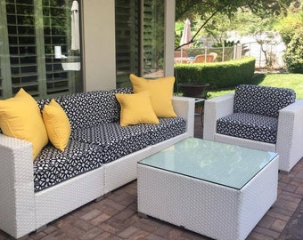 Sunbrella Custom Replacement Outdoor Furniture Cushion Covers Luxe Indigo