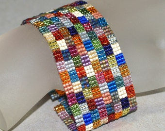 Not Your Grandma's Patchwork ... Beadwoven Bracelet . Handmade . Jewelry . Peyote Cuff . Geometric . Multicolor . Metallic . Squares
